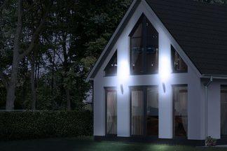 Von Aussen beleuchtetes Haus