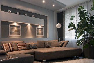 Wohnzimmer mit Wandleuchten